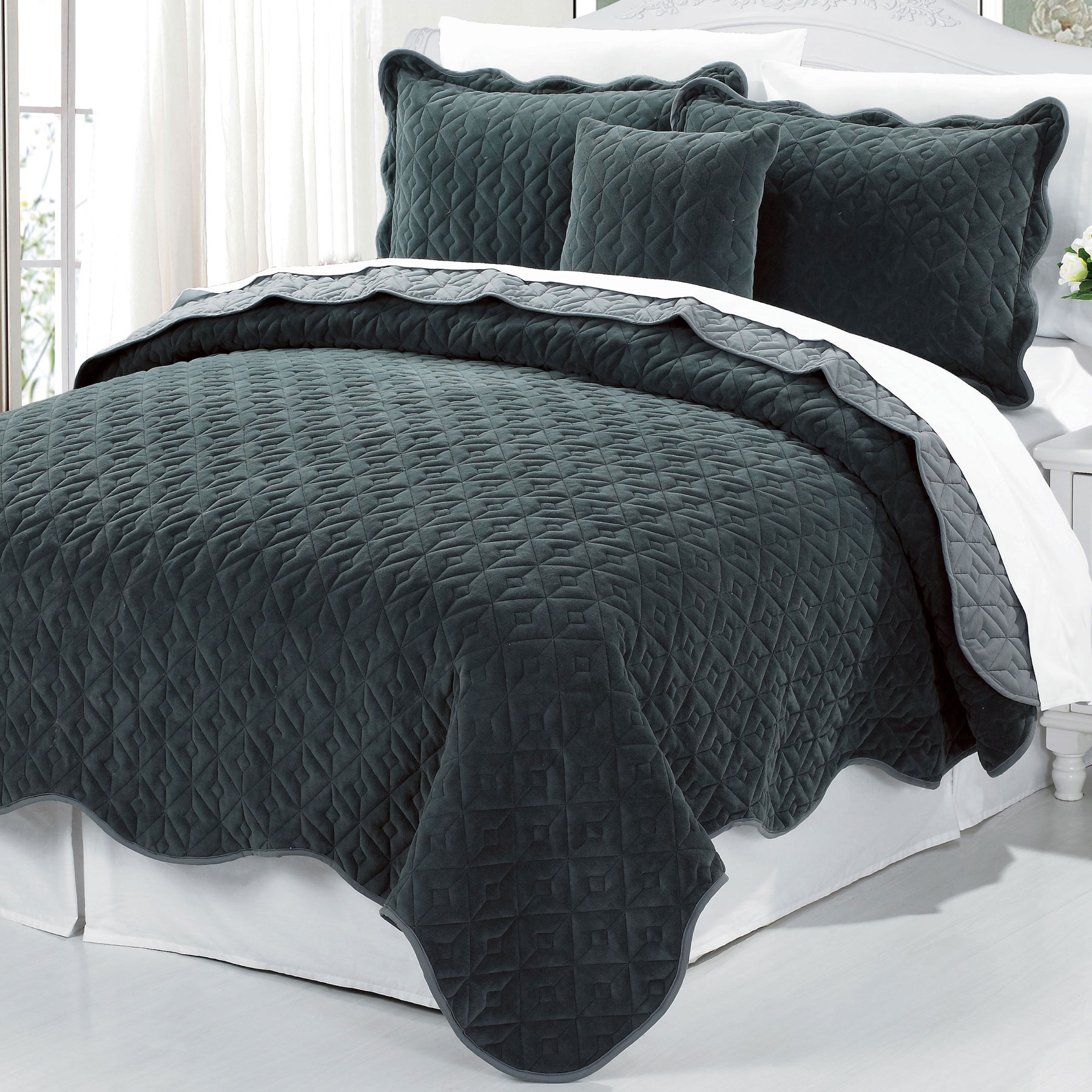 Serenta Square Diamond 4 Piece Bedspread Set