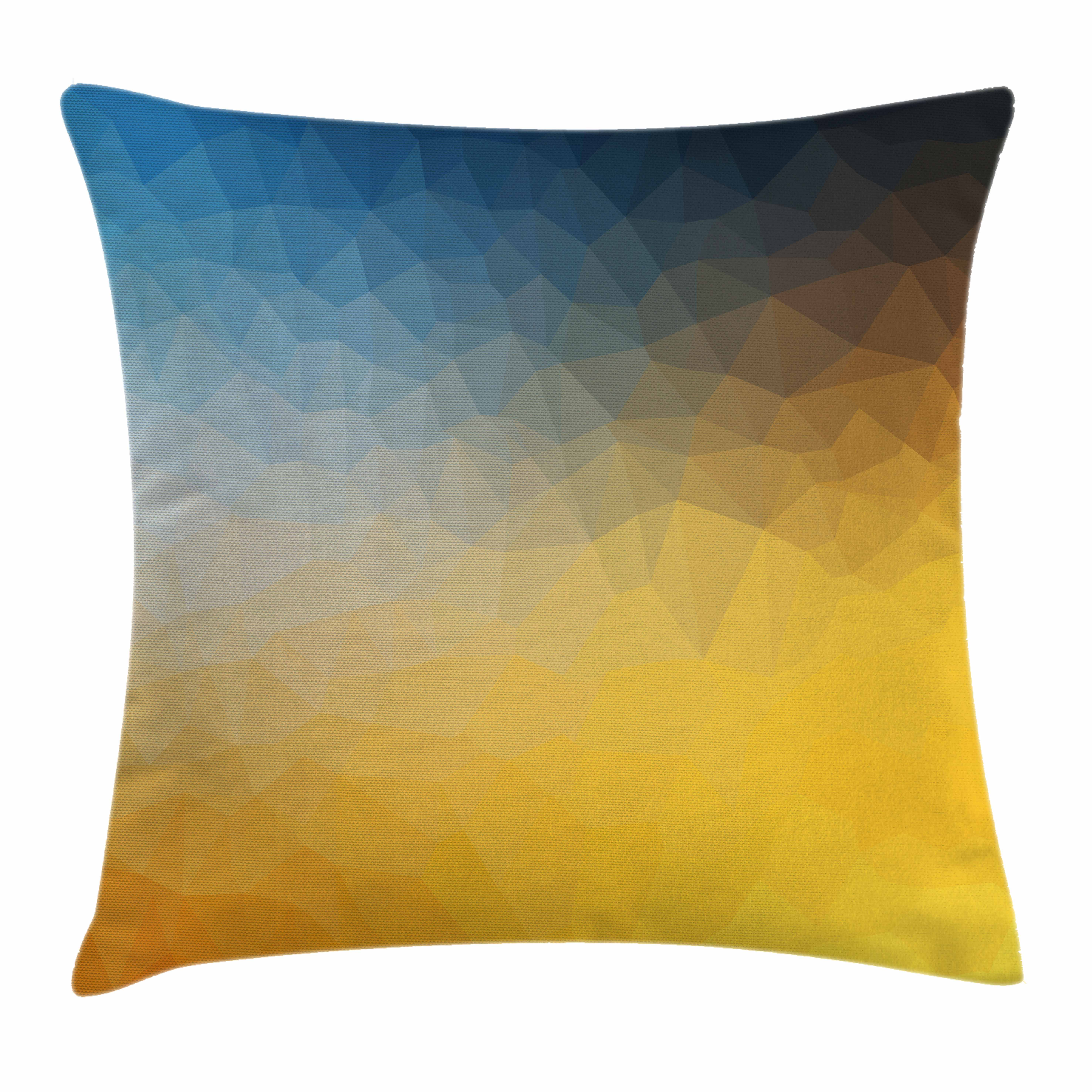 Yellow and Blue Throw Pillow Cushion Cover, Abstract Polygon Style Fractal Gradient Geometric Background Art, Decorative Square Accent Pillow Case, 16 X 16 Inches, Slate Blue Marigold, by Ambesonne