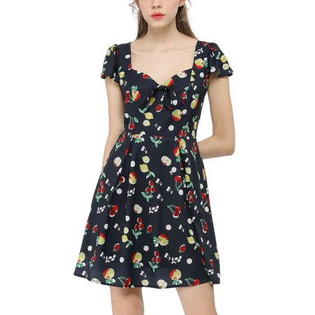 Women鈥榮 Fruit Print Sweetheart Neckline Cap Sleeves Dress Dark Blue L - image 6 de 6