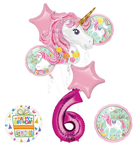 "Unicorn Party Supplies ""Believe In Unicorns"" 6th Birthday Balloon Bouquet Decorations"