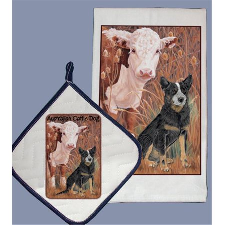 Pipsqueak Productions DP998 Dish Towel and Pot Holder Set - Australian Cattle Dog