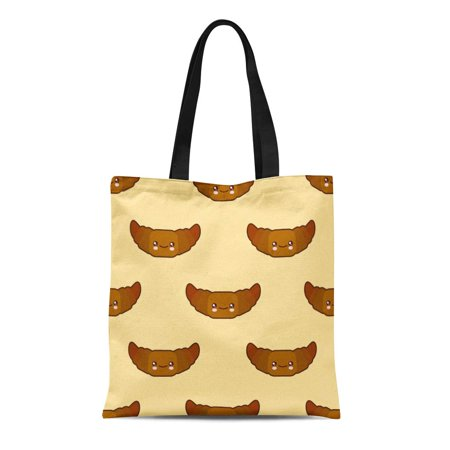 LADDKE Canvas Tote Bag Pink Croissant Cute Fast Food Kawaii Characters on Flat Durable Reusable Shopping Shoulder Grocery