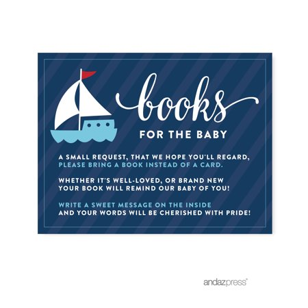 Books For Baby Navy Blue Nautical Baby Shower Game Request Cards, 20-Pack (Nautical Theme Baby Shower)