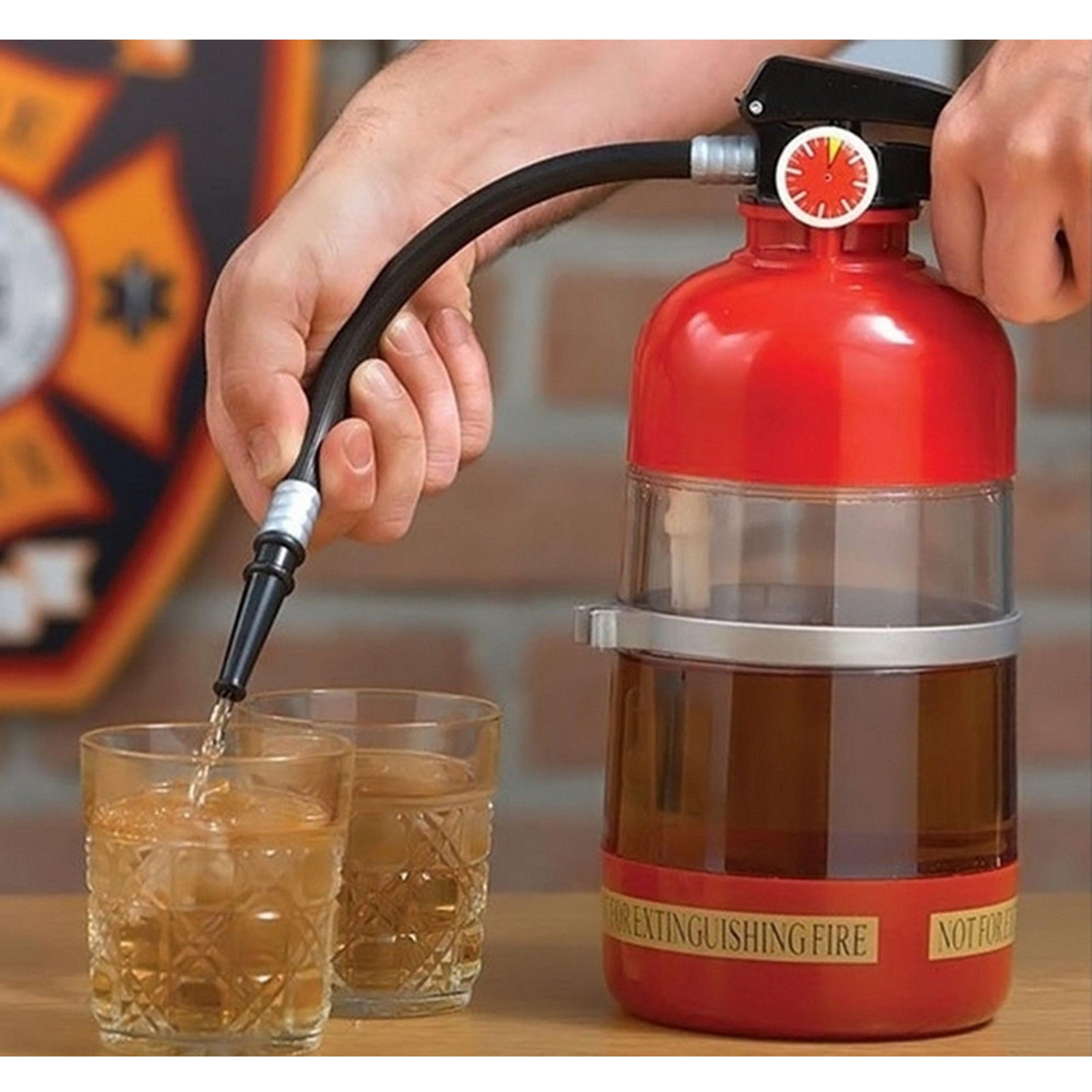 Fire Extinguisher Cocktail Shaker Drink Storage and Dispenser Party Drink Mixer by Maxam