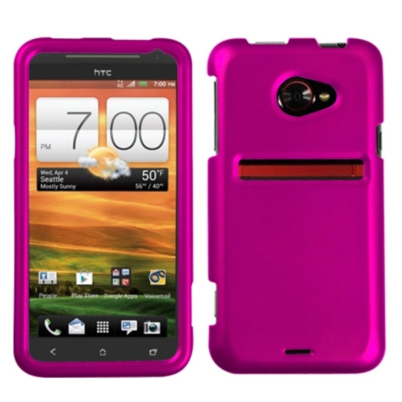 Insten Titanium Solid Hot Pink Phone Case for HTC: EVO 4G LTE