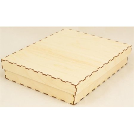 Shallow Rectangle Drop Fit Wood Box 8 inch x 10 inch x 2 -
