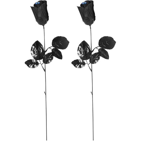 Cat Eyes Halloween Window Decorations (2-pc Spooky Black Roses Flowers Blue Cat Eye Centers Fancy Halloween Prop)