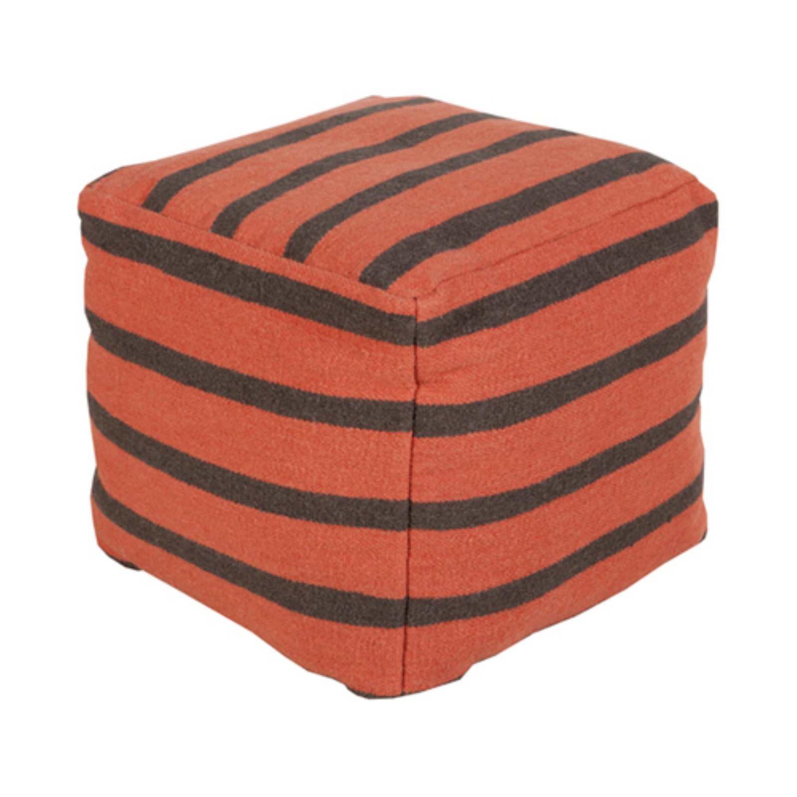 Surya 18 in. Large Stripe Cube Wool Pouf by Surya