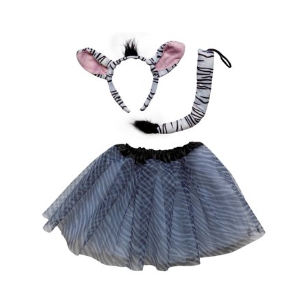 So Sydney Kids Teen Adult Plus 2 Pc Tutu Skirt, Ears, Tail Headband Costume Halloween Outfit - Zebra Headband
