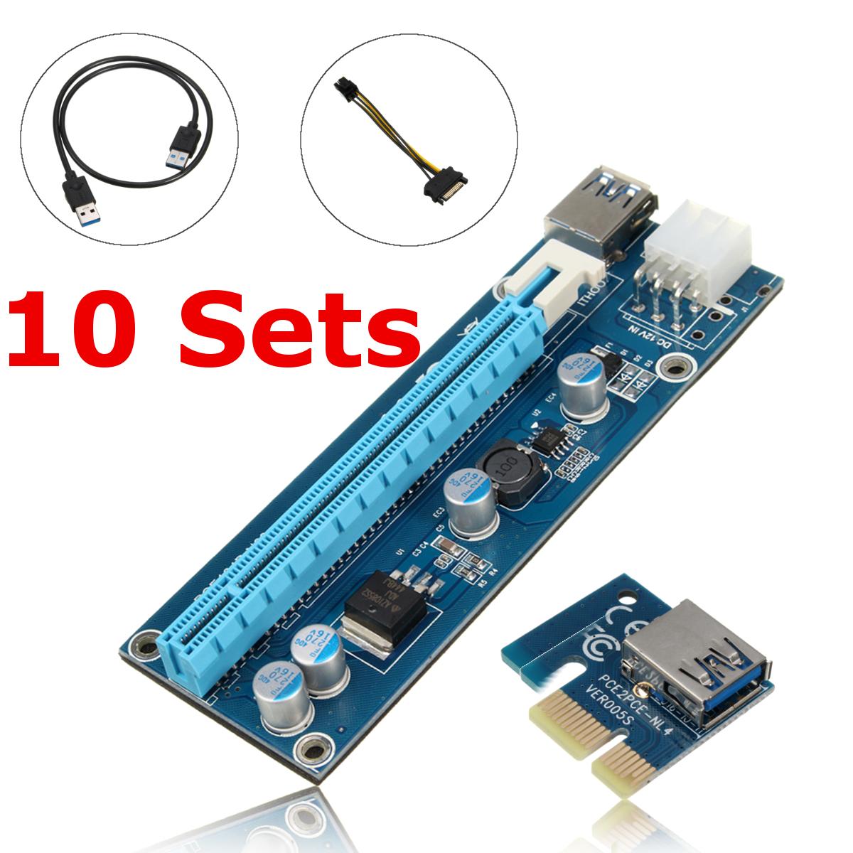10PCS USB 3.0 PCI-E 1x to 16x Extender Riser Card SATA Ad...