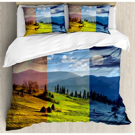 Ambesonne Apartment Pastoral Village Rural Field with Rainbow Moon Sun  Countryside Grassland Duvet Cover Set