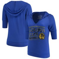 Golden State Warriors Majestic Threads Women's City State Elbow Sleeve V-Neck Hooded Pullover Top - Royal