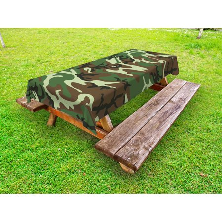 Camo Outdoor Tablecloth, Classical American Commando Uniform Inspired Pattern Forest Tile, Decorative Washable Fabric Picnic Table Cloth, 58 X 84 Inches,Forest Green Pale Green Brown, by Ambesonne](Camouflage Tablecloths)