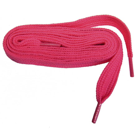 54 Inch 137 cm Bright Neon HOT Pink professional FATmax™ Athletic 3/4 inch wide retro FAT sneaker shoelaces - (2 Pair -