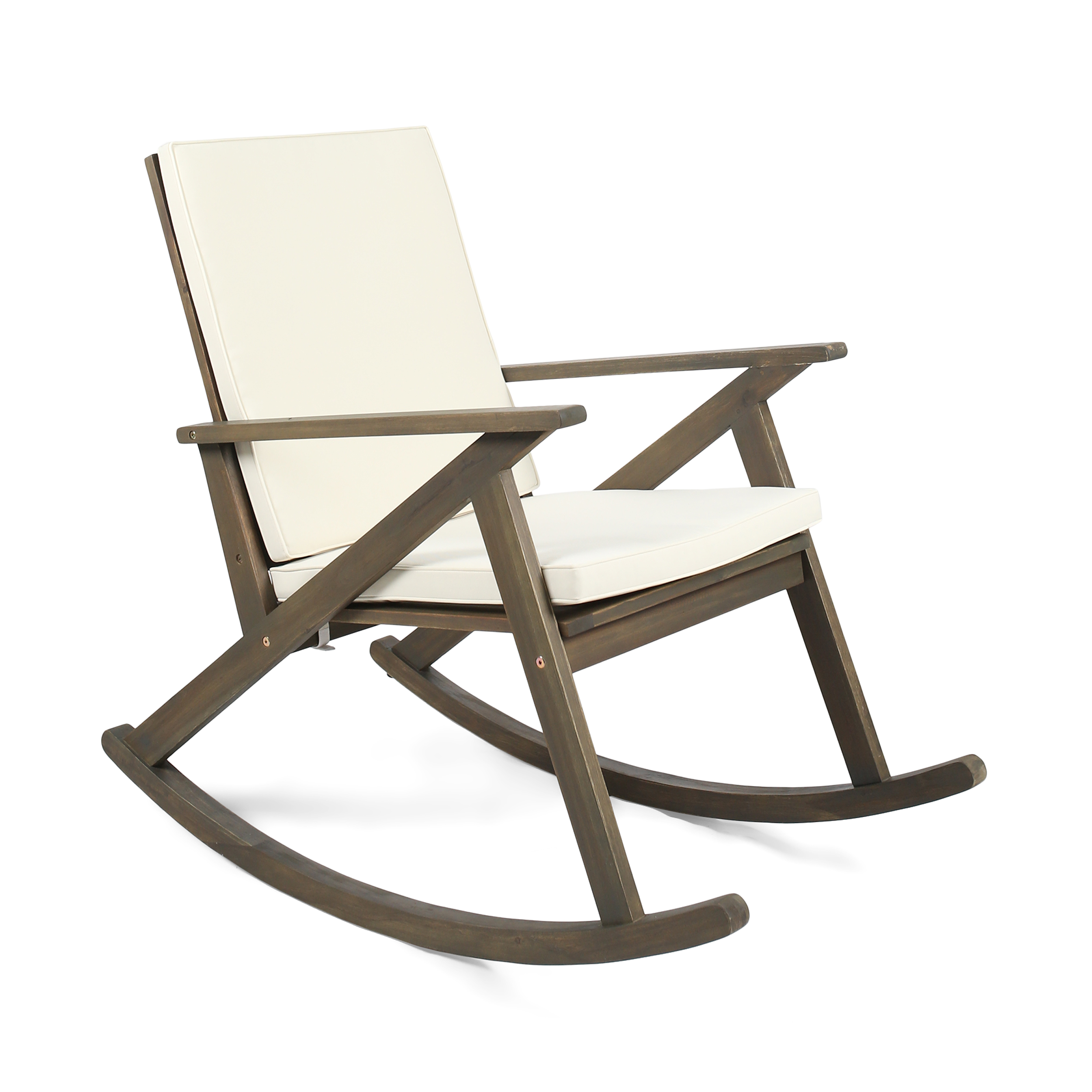 Louise Outdoor Acacia Wood Rocking Chair with Cushion, Grey and Cream
