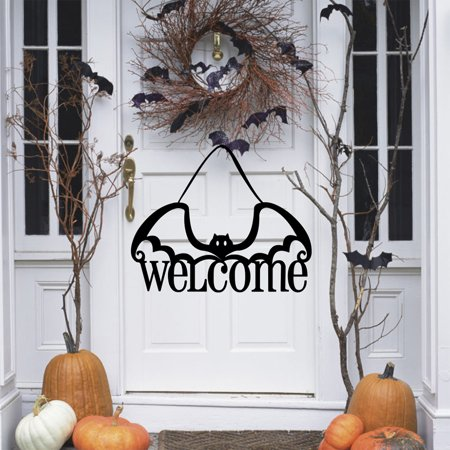 Non-woven Fabrics Black Bat Hanging Welcome Sign for Halloween Party Door Wall Decor Party Door Sign