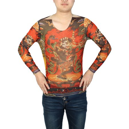 Unique Bargains Round Neck Pullover Black Dragon Pattern Stretchy Tattoo T Shirt Top S For Men
