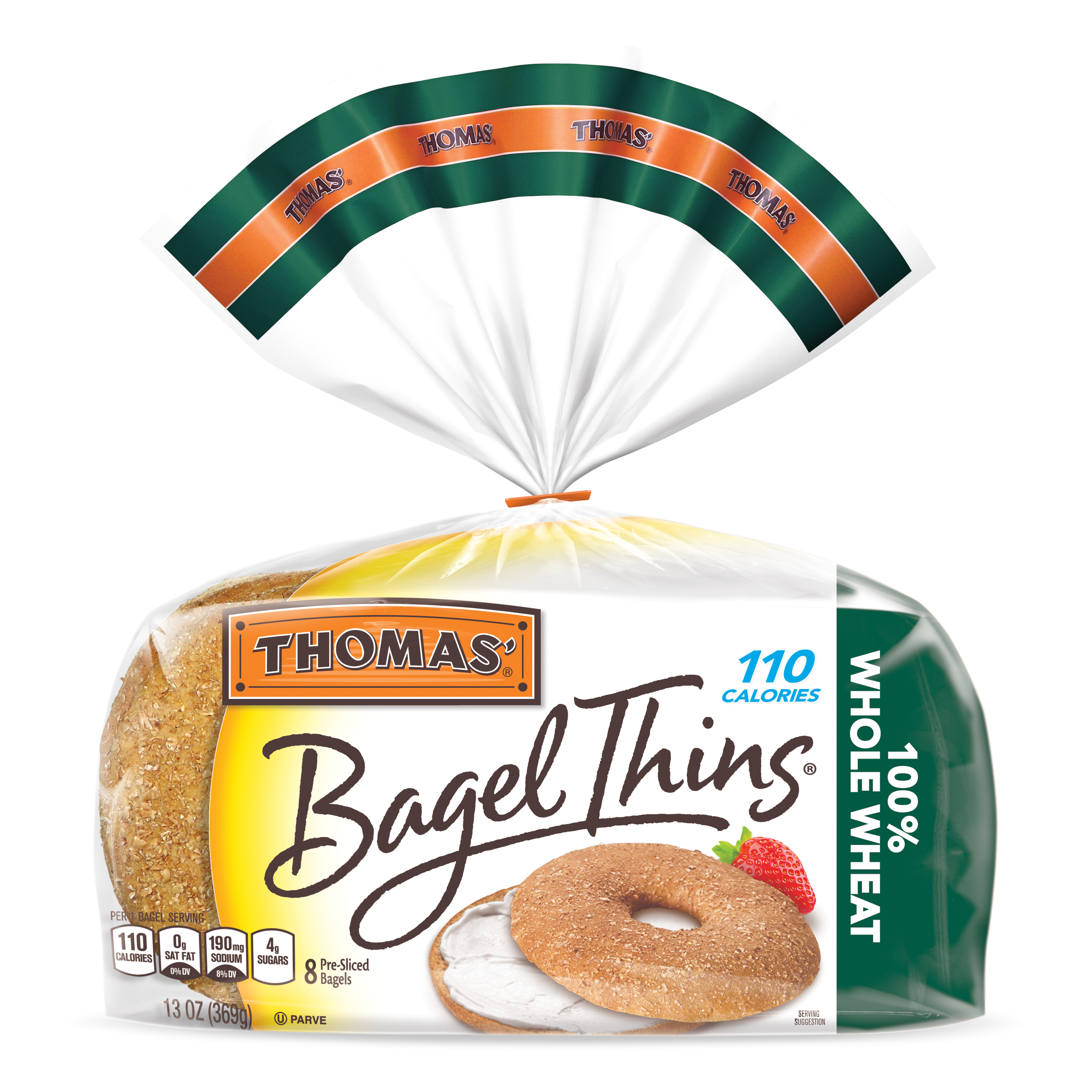 Thomas' Whole Wheat Bagel Thins, Only 110 Calories, 8 count, 13 oz