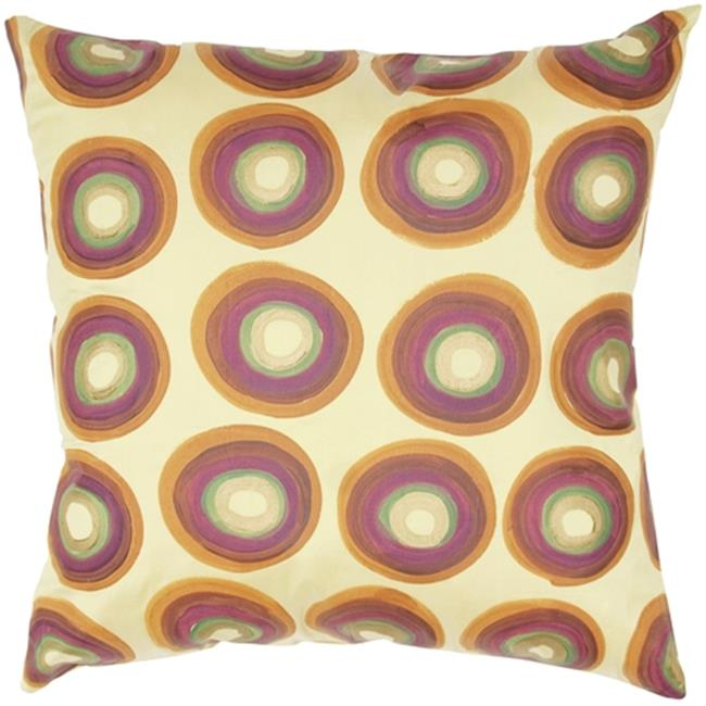 Indias Heritage C639 Silk Dupioni With Print Circle Design Pillow, Gold