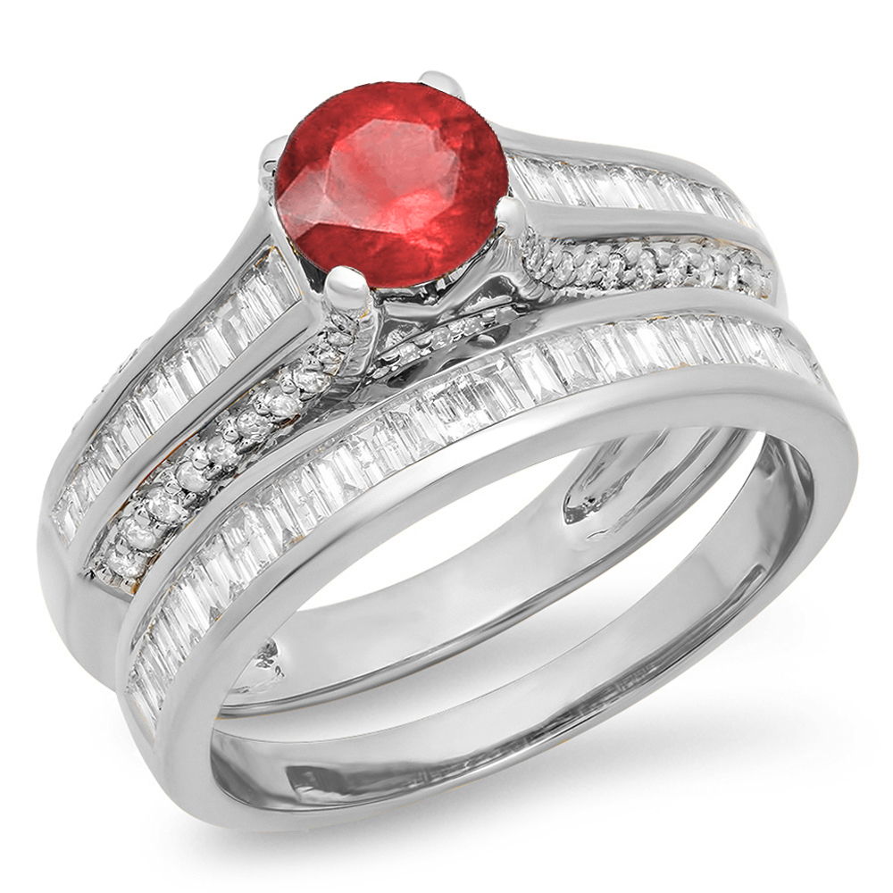 Dazzling Rock 14K Gold Round & Baguette Cut Ruby & White ...