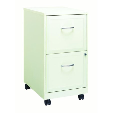 Lorell 2 Drawers Steel Vertical Lockable Filing Cabinet, Pearl White
