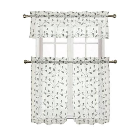 Adler Metallic Embroidered Leaves Sheer Kitchen Curtain