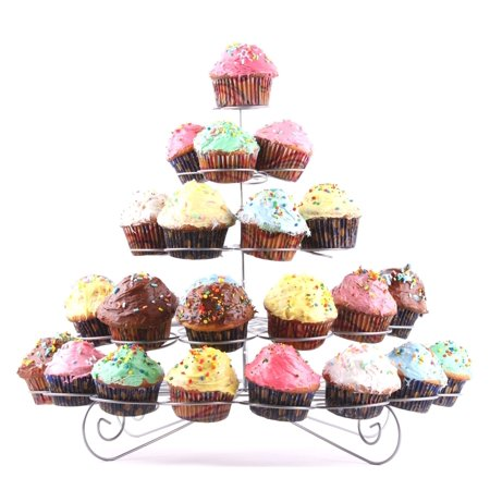 CHARMED 41 CUPS 5 TIERS CUPCAKE DESSERT STAND SILVER - Silver Cupcake Stand