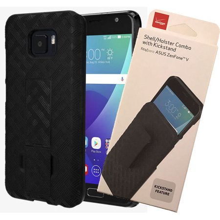 Asus ZenFone V Case/Clip, Verizon OEM Original Black [Kickstand] Hard Shell + Belt Clip Holster for Asus ZenFone V