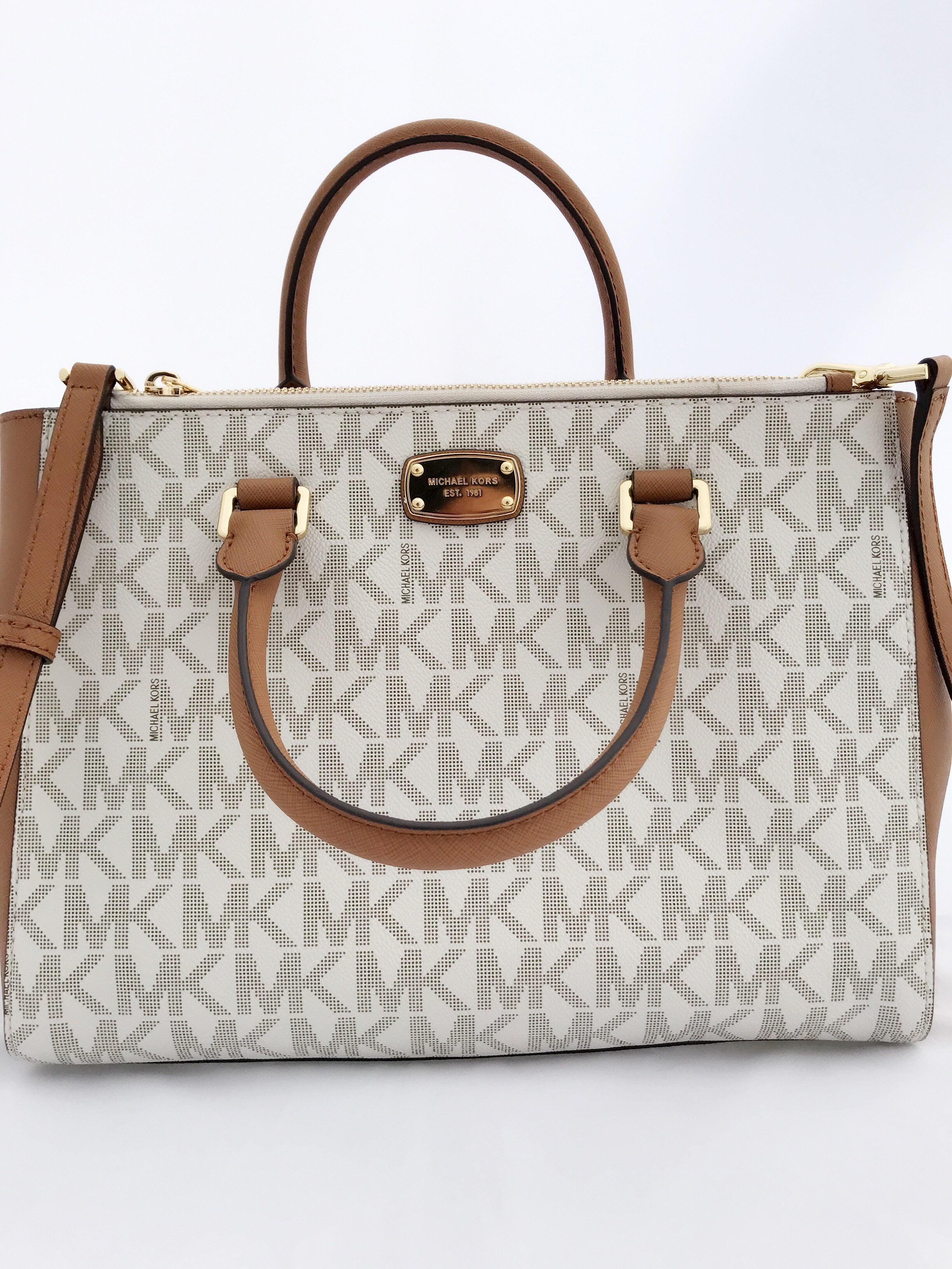 2b4212df7f16dd Michael Kors - Michael Kors Kellen Medium Satchel Leather PVC Crossbody Bag  Vanilla MK Acorn - Walmart.com