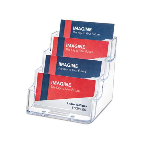 FourPocket Countertop Business Card Holder, Holds 200 2 X 3 12 Cards, Clear