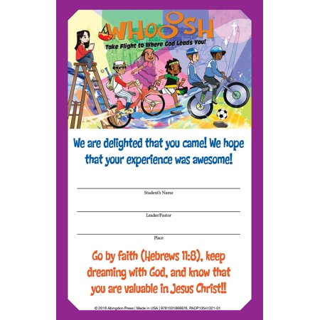 Whooosh: Vacation Bible School (Vbs) 2019 Whooosh Student Certificates (Pkg of 24): Take Flight to Where God Leads You! (Other) - Vbs Tips