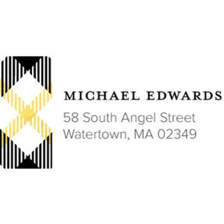 Plaid Personalized Address Label