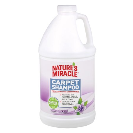 Nature's Miracle Carpet Shampoo 64 Ounces, Deep-Cleaning Stain And Odor Remover, Tropical Bloom Scent Natures Carpet Natural