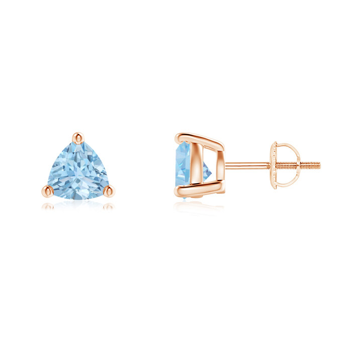 Angara Basket-Set Trillion Aquamarine Stud Earrings fgCBnlLlV