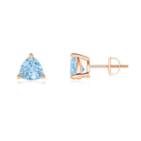 bfeb783a9 Angara - Mother's Day Jewelry Sale - Basket-Set Trillion Aquamarine Stud  Earrings in 14K Rose Gold (6mm Aquamarine) - SE0142AQ-RG-AAA-6 - Walmart.com