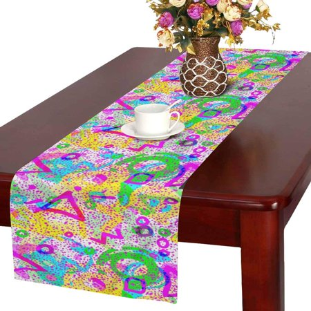MKHERT Retro 80s or 90s Fashion Style Abstract Seamless Pattern Table Runner Home Decor for Wedding Banquet Decoration 16x72 Inch](80s Table Decorations)