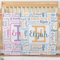 Personalized collage name blanket - pink