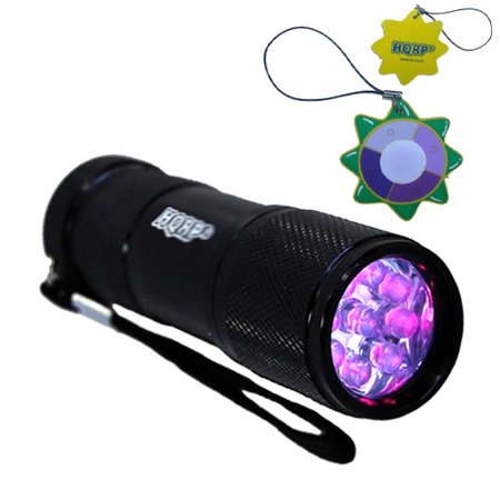 HQRP Professional 365 nM 9 UV LED Longwave Ultraviolet Leak Detection Flashlight / Blacklight + HQRP UV Meter (Ultra Violet Meter)