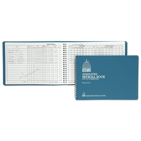 Dome Simplified Payroll Record, Light Blue Vinyl Cover, 7 1/2 x 10 1/2 Pages -DOM710 Dome Publishing Payroll Book