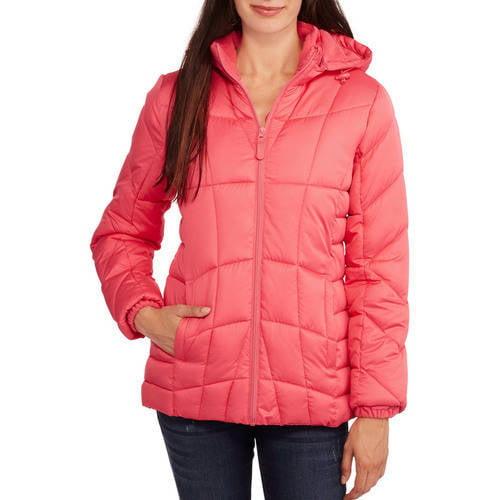 Faded Glory Women's Hooded Puffer Jacket Coat