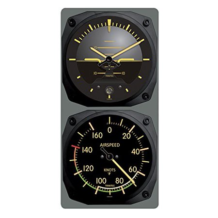 trintec vintage aircraft horizon wall clock/airspeed thermometer (f) combo ()