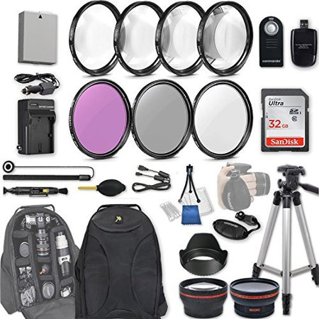 58mm 28 Pc Accessory Kit for Canon EOS Rebel T3i, T5i, 300D, 700D DSLRs with 0.43x Wide Angle Lens, 2.2x Telephoto Lens, 32GB SD, Filter & Macro Kits, Backpack Case, and (Best Lens For Canon 700d)