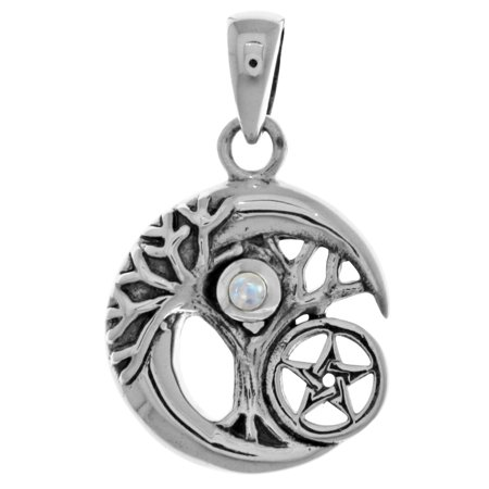 Sterling Silver Three Stars - Sterling Silver Celtic Tree of Life Moon and Star Pendant with Moonstone