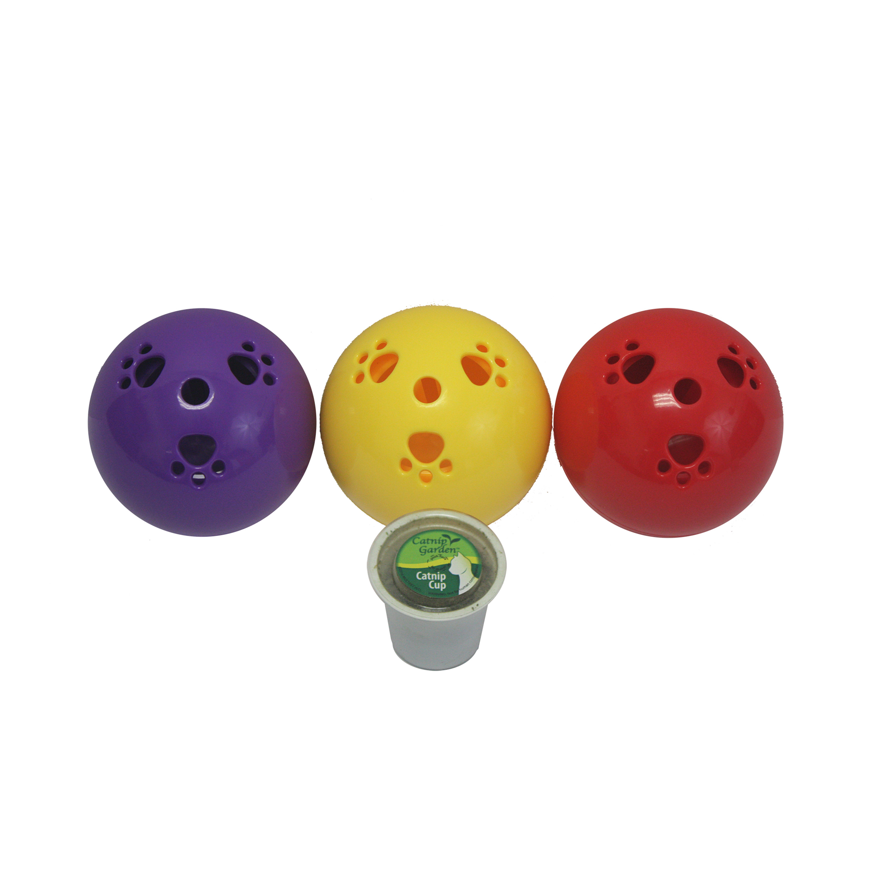 "Catnip Garden Kitty Sprinkles BALL (Dispenser + K-Cup (Asst.Colors!!!)) 4"" by Multipet International"