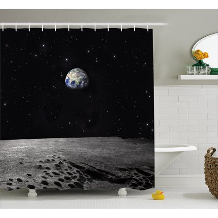 Earth Shower Curtain  Planet Earth As Seen From The Moon Outer Space Milky Way Quiet Night Sky Galaxy  Fabric Bathroom Set With Hooks  69W X 75L Inches Long  Black Grey Blue  By Ambesonne