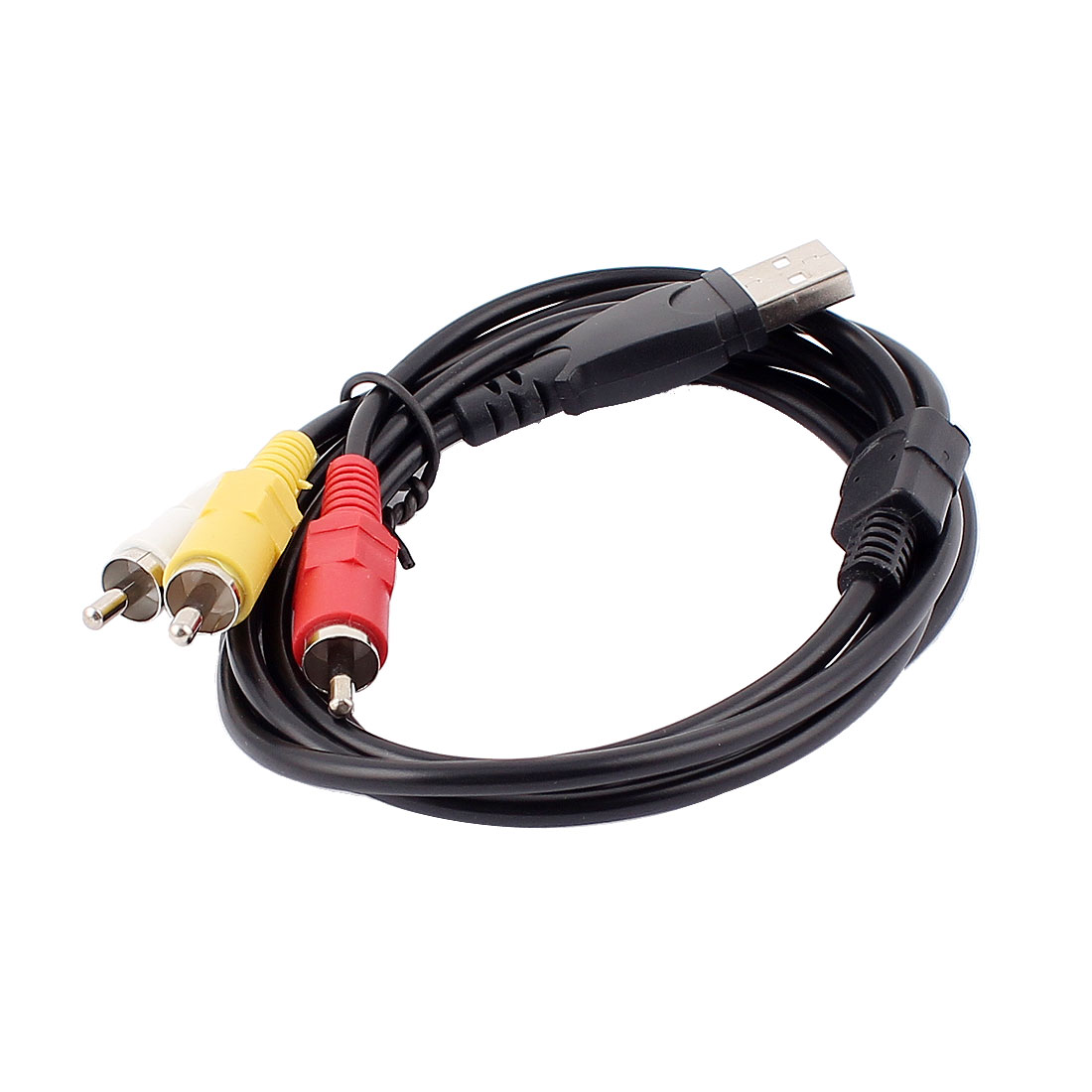 USB to 3 RCA Male Adapter Camcorder AV Cable Black 5ft 1.53M