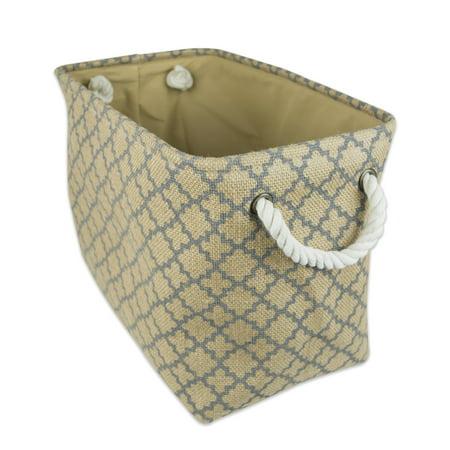 Design Imports Burlap Bin Lattice Gray Rectangle Small, 14