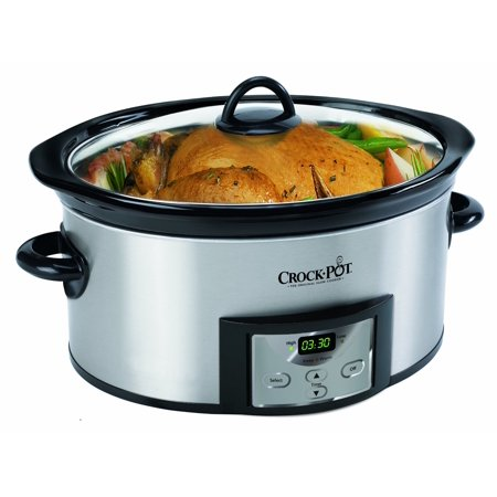 Crock-Pot 6-Quart Oval Countdown Stainless Steel Slow Cooker with Little Dipper Warmer, SCCPVC605-S (Countdown Crock Pot)