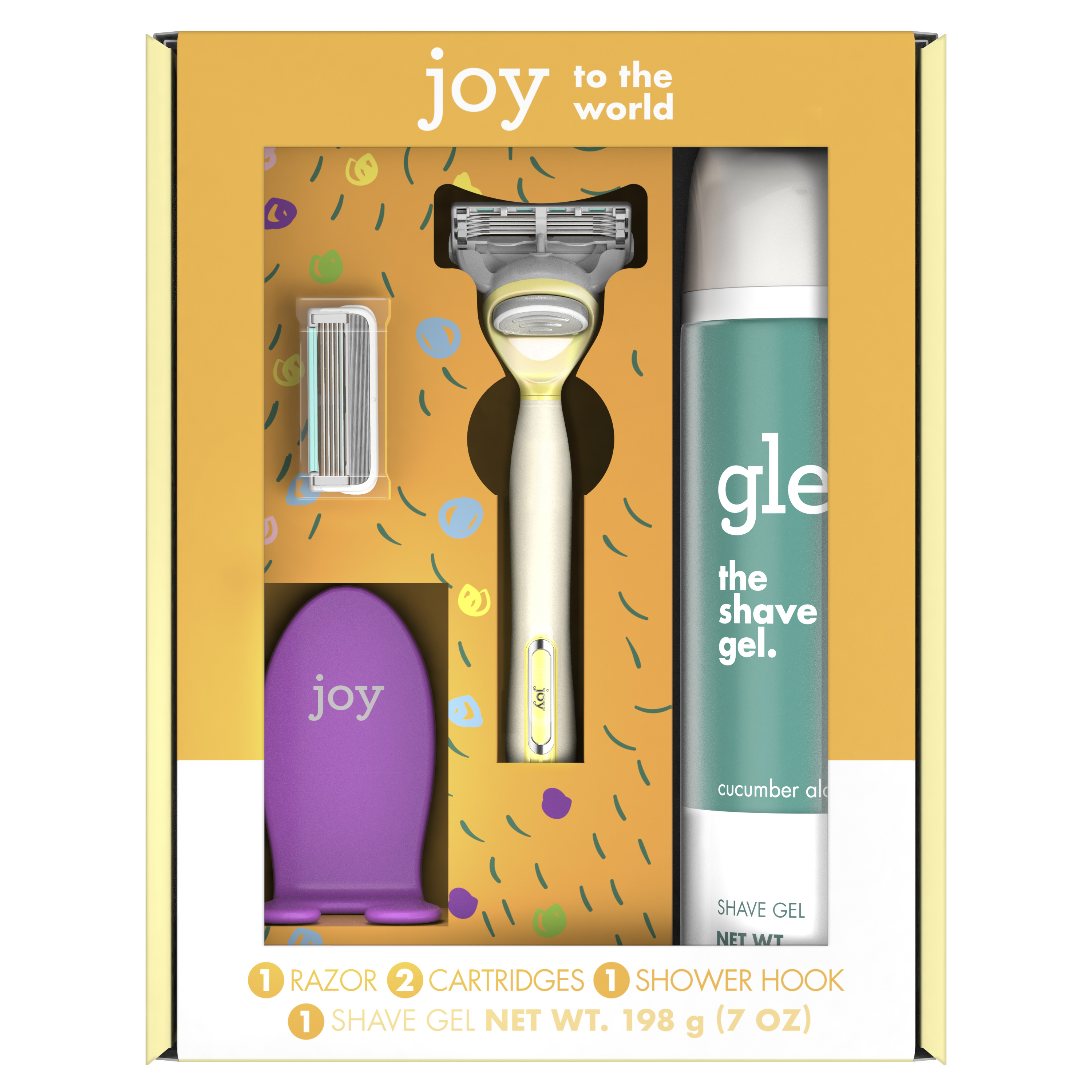 joy and glee Women's Razor Holiday Shave Care Gift Set, Yellow