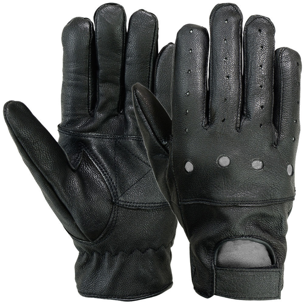 MRX Mens Driving Gloves Basic Outdoor Glove Soft Goat Leather Full Finger, Black (Large)